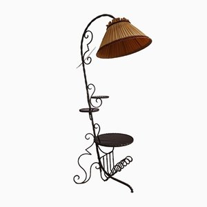 Französische Stehlampe aus Schmiedeeisen & Glas, 1950er