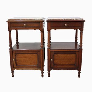 Antique French Mahogany Nightstands, Set of 2