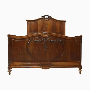 French Carved Walnut Bed, 1920s
