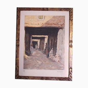 Gravure de Scène de Rue Maroc par Ch. Manuel, années 20