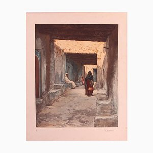 Engraving of Morocco Street Scene by Ch Manuel, 1920s