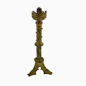 Antike Kirchenholz Tischlampe