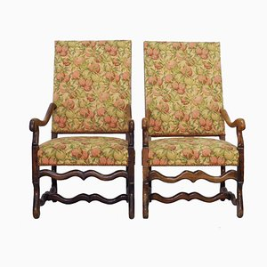 Antique French Walnut Armchairs, Set of 2