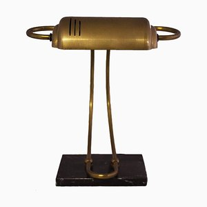 Brass & Marble Desk Lamp, 1940s