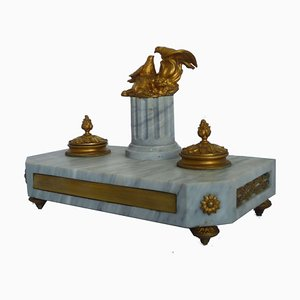 Antique Empire Marble & Golden Bronze Eagles on Column