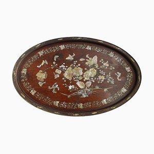 Antikes ovales Chinoiserie Tablett aus Holz