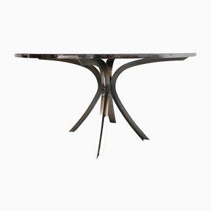 Mesa de comedor escultural de acero inoxidable y vidrio ahumado de Xavier-Feal para Inox Industrie, años 70