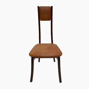 Mahogany & Leather S11 Dining Chairs by Angelo Mangiarotti, 1972, Set of 6