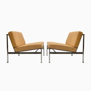 Leather and Chrome Lounge Chairs, 1950s, Set of 2