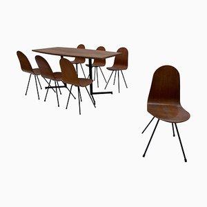 Silla de comedor y mesa de Franco Campo & Carlo Graffi, 1958. Juego de 7