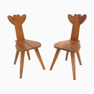 Ulmenholz Bambi Kinderstühle, 1950er, 2er Set