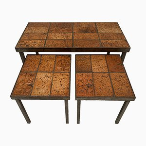 Belgian Brutalist Solid Steel & Ceramic Nesting Tables, 1960s