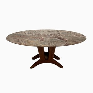 Italian Carved Walnut, Marble & Brass Side Table, 1950s