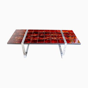 Mid-Century Red Orange Ceramic Tiles and Chrome Console Table by Juliette Belarti for Belarti, 1960s