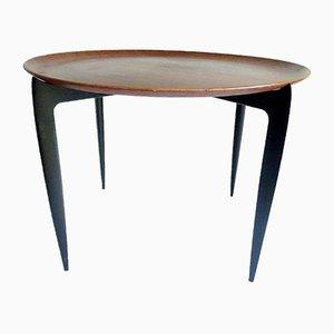 Danish Teak and Ebonized Wood Foldable Side Table by Svend Åge Willumsen, H. Engholm for Fritz Hansen, 1950s