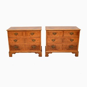 Antique Burr Walnut Chest of Drawers, Set of 2