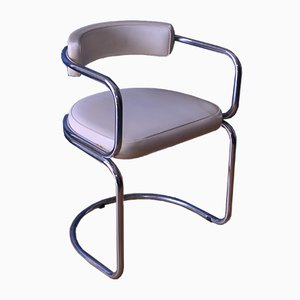 Bauhaus Chromed Metal & Leatherette Dining Chair, 1950s