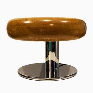 Lampada da tavolo in metallo cromato e faggio, Italia, anni '70