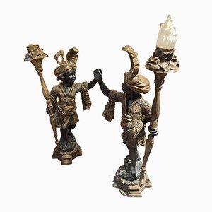 Esculturas de antorcheros, años 80. Juego de 2