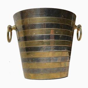 Scandinavian Modern Brass & Silver Champagne Ice Bucket, 1960s