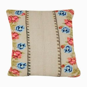Floral Turkish Kilim Cushion Cover from Vintage Pillow Store Contemporary