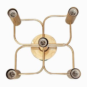 Brass Ceiling Lamp by Gaetano Sciolari for Leola, 1970s