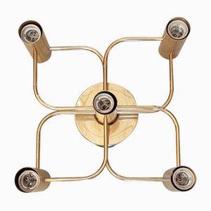 Messing Deckenlampe von Gaetano Sciolari für Leola, 1970er