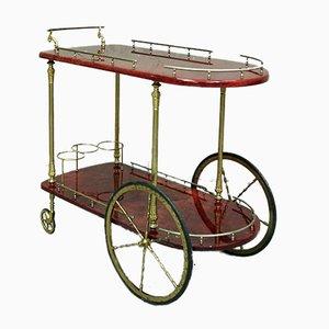 Italian Lacquered Goatskin Trolley by Aldo Tura for Tura Milano Italia, 1960s