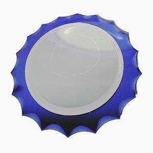 Espejo Mid-Century azul de Crystal Art, años 50