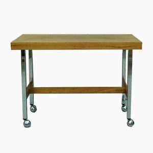 Mid-Century Teak and Chrome Side Table, 1970s