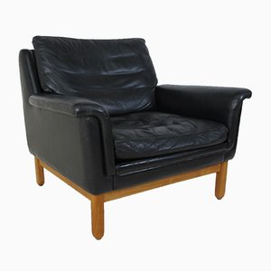 Mid-Century Scandinavian Teak and Black Leather Lounge Chair, 1950s