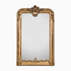 Antiker französischer Spiegel mit vergoldetem Holzrahmen