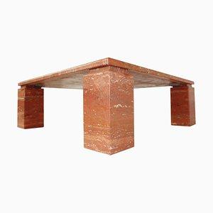 Mesa de centro vintage cuadrada de travertino rojo