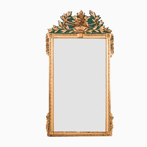 Large Antique Green Trumeau Mirror