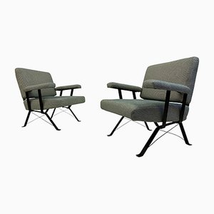 Italian Steel Armchairs, 1960s, Set of 2