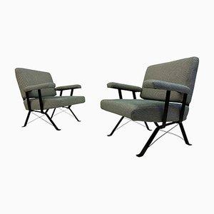 Italienische Armlehnstühle aus Stahl, 1960er, 2er Set