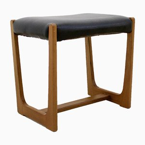 Mid-Century Teak & Vinyl Dressing Table Stool, 1960s