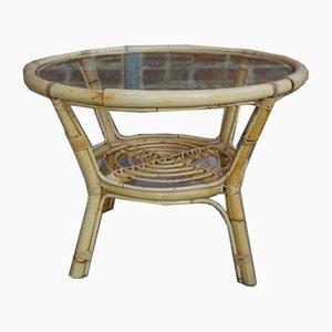 Table Basse en Rotin et Verre, années 50
