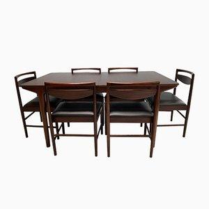 Juego de mesa de comedor y sillas de palisandro de McIntosh, años 60. Juego de 7