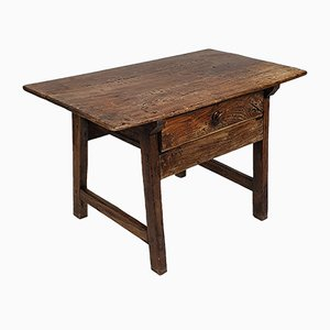 Antique Spanish Oak Side Table, 1700s
