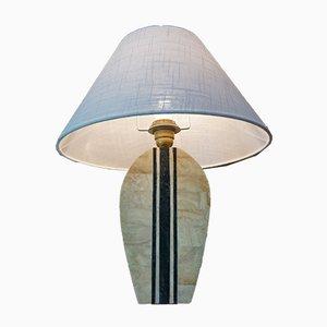 Messing Intarsie Tischlampe, 1970er