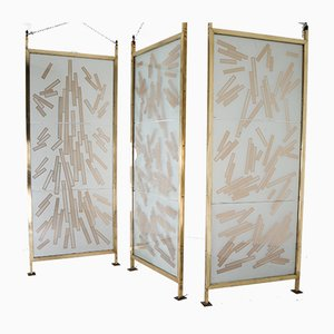 Czech Brass and Etched Art Glass Room Dividers, 1993, Set of 3