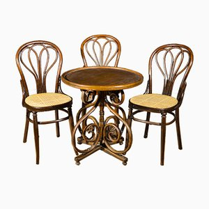 Dining Table & Chairs from Thonet, 1920s, Set of 4