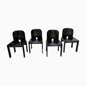 Mid-Century Black Leather and Walnut No. 121 Dining Chairs by Tobia & Afra Scarpa for Cassina, Set of 4