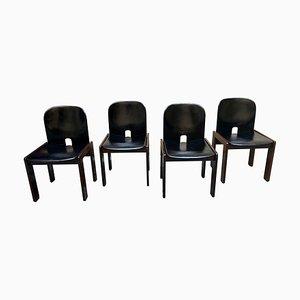 Mid-Century No. 121 Esszimmerstühle aus Schwarzem Leder & Nussholz von Tobia & Afra Scarpa für Cassina, 4er Set