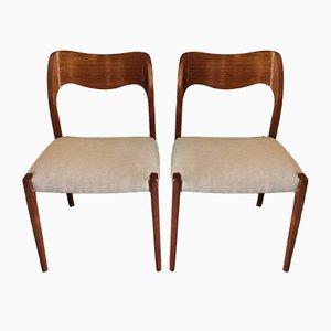 Modell 71 Esszimmerstühle von Niels Otto Møller für JL Møllers, 1960er, 6er Set