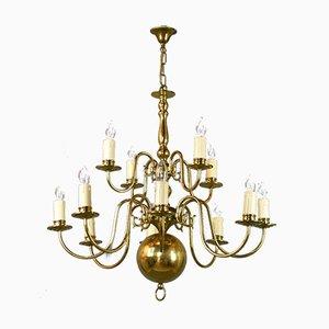Lámpara de araña antigua de latón con 12 luces