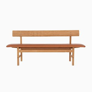 Oak & Leather 3171 Bench by Børge Mogensen for Fredericia, 1970s
