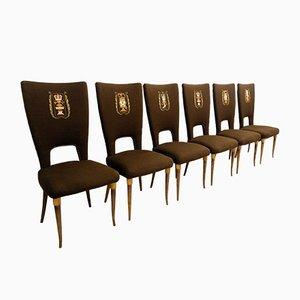 Esszimmerstühle mit Hoher Rückenlehne, 1950er, 6er Set