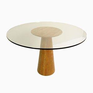 Mesa de comedor vintage de travertino y vidrio de Angelo Mangiarotti